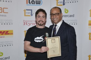 Theo Paphitis presenting Jack with his SBS certificate