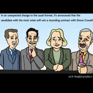 Election candidates for the 2015 general election. Cartoon for Lancaster Guardian newspaper